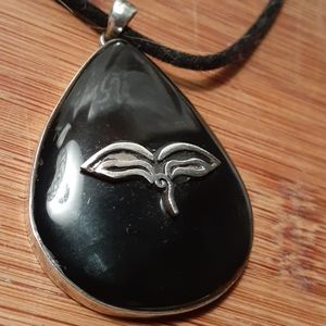 Black Onyx and Sterling Silver Artists Pendant